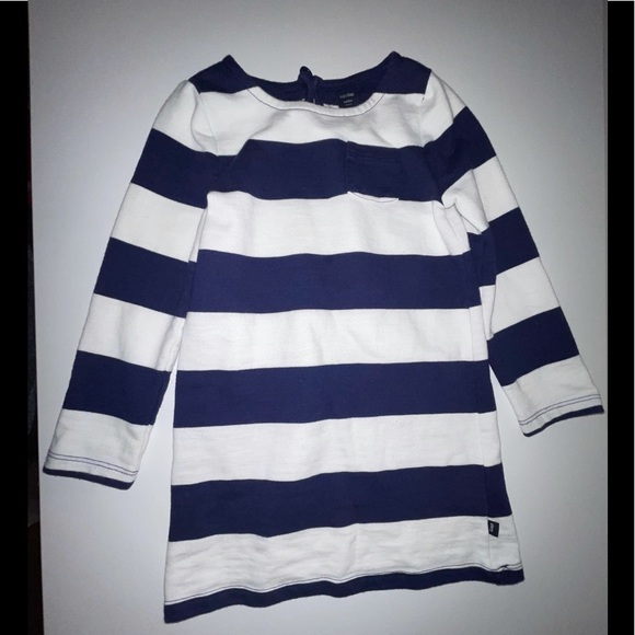Baby Gap 3Y blue and white striped l/s dress